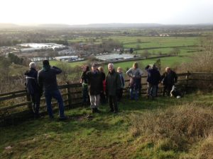 Boxing Day walkers on Cadbury Hill