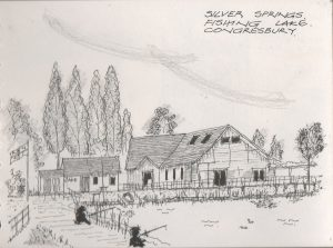 Silver Springs Fishing Lake on Boxing Day. Sketch by Michael Greaves